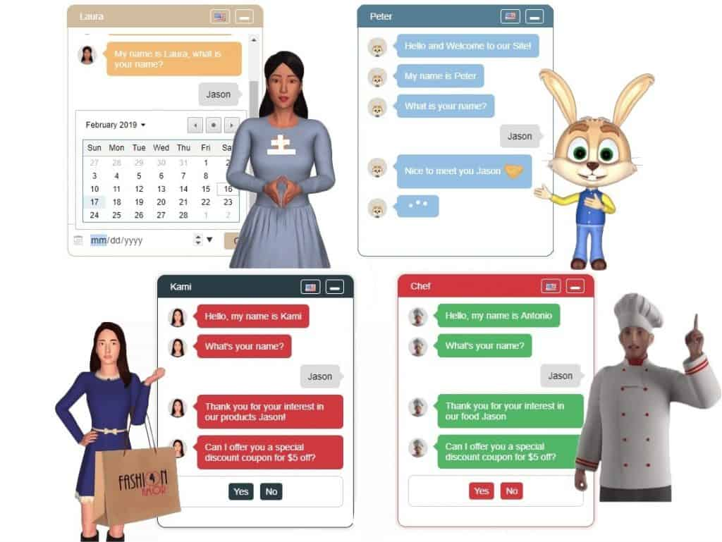 Different 3D Chat Avatars as per business or service