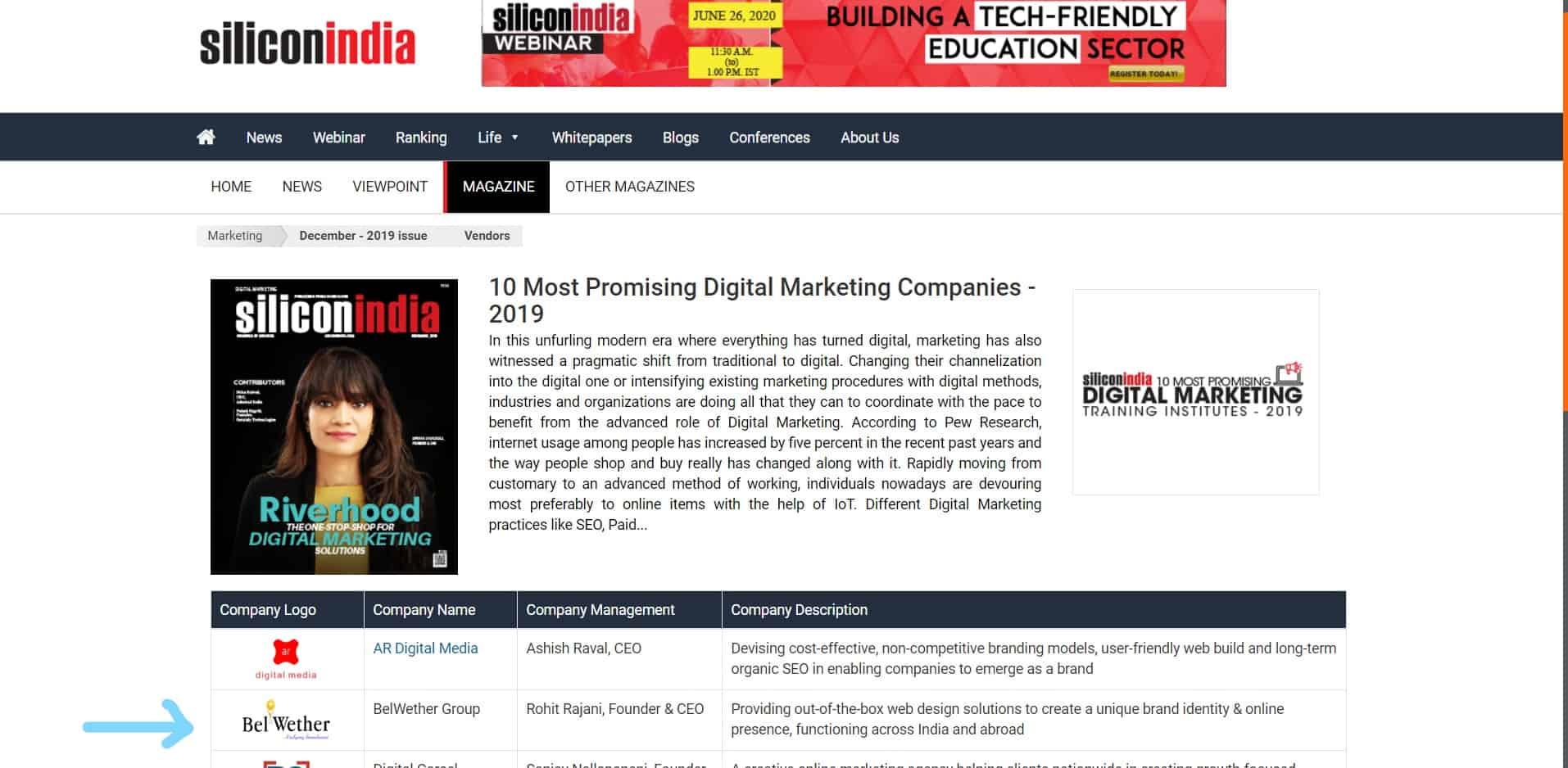 Silicon India award